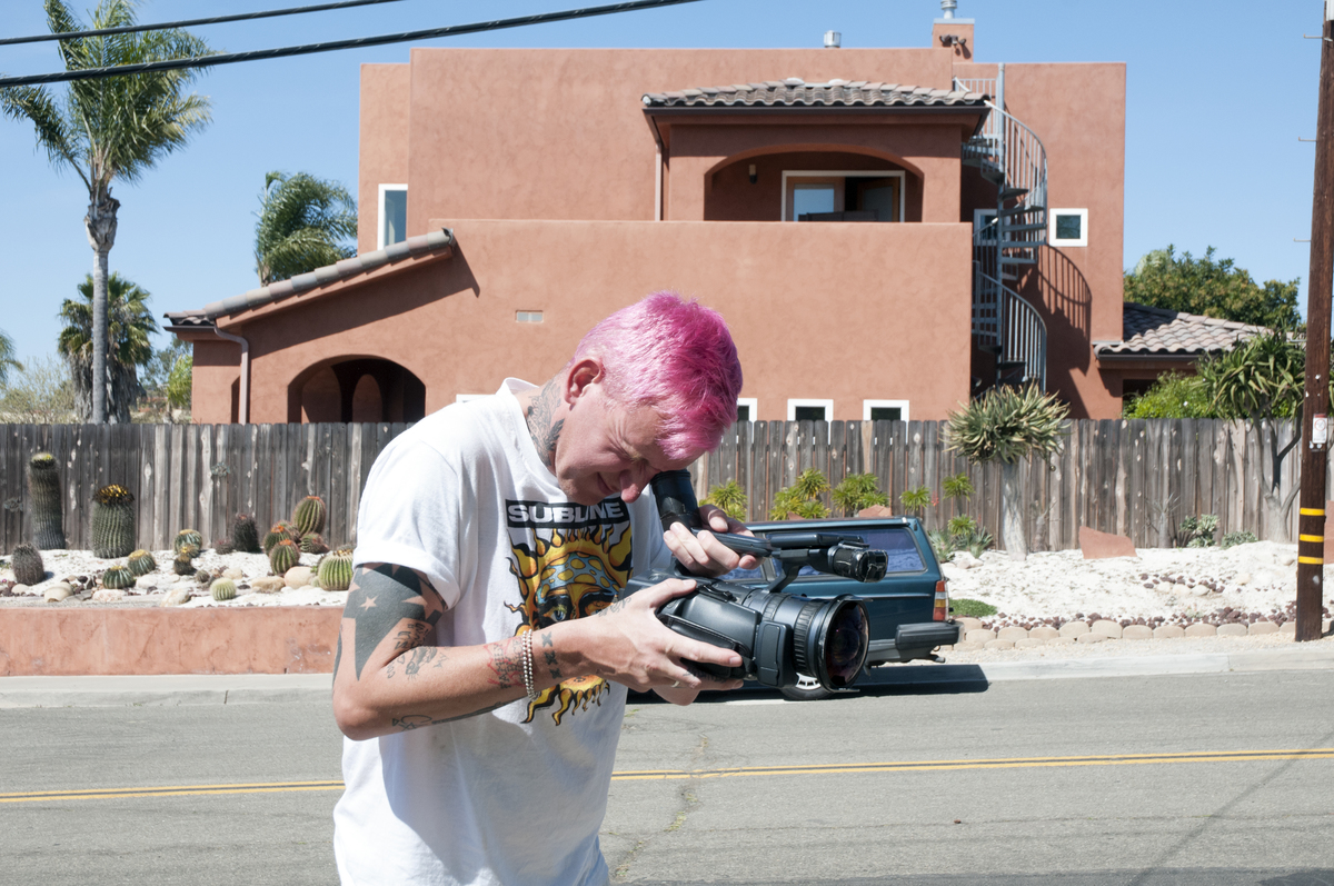 cavin filming pink hair